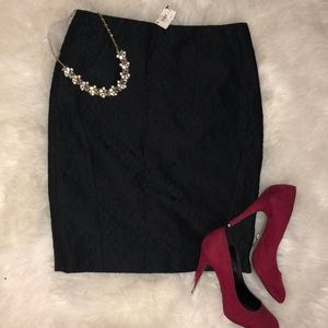 NWT The Limited Black Lace back vent pencil skirt